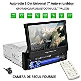 Autoradio Bluetooth, CATUO 7' HD 1080P Touchscreen MP5 Player mit Ausfahrbar Bildschirm/GPS...