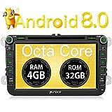 PUMPKIN Android 8.0 Autoradio 4GB DVD Player für VW mit Navi 8 Zoll Bildschirm Unterstützt Bluetooth DAB+ WLAN 4G Android Auto USB MicroSD Subwoofer...