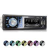 XOMAX XM-R268 Autoradio mit Bluetooth Freisprecheinrichtung I Handy Aufladen über 2. USB Anschluss I RDS Radio Tuner, FM I 7 Beleuchtungsfarben I 2X...