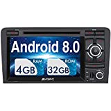 Pumpkin Android 8.0 Autoradio Radio für Audi A3 mit Navi Unterstützt Bluetooth DAB + USB CD DVD Android Auto WiFi 4G MicroSD 2 Din 7 Zoll Bildschirm