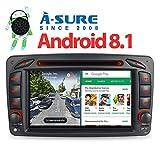 A-SURE 7' 2GB RAM Android 8.1/8.0 DVD GPS Navigation Autoradio BT 5.0 4G LTE WiFi Mirror-link DAB+ OBD für Mercedes Benz C-Class W203 S203 CLK-Class...