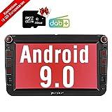 PUMPKIN Android 9.0 Autoradio Radio für VW mit GPS Navi 16GB Europakarten/Integriertes DAB + Modul Unterstützt Bluetooth USB Android Auto WiFi 4G...