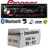 Autoradio Radio Pioneer DEH-S3000BT - Bluetooth | CD | MP3 | USB | Android Einbauzubehör - EINBAUSET für Audi A4 B6 B7 - JUST SOUND best choice for...