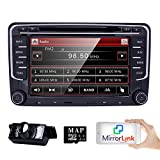 HIZPO 2 Din Autoradio Naviceiver für Jetta Golf Passat mit 7 Zoll Touch Screen GPS Navigation Bluetooth Freisprechfunktion CanBus DVD CD Player