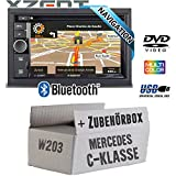 Mercedes C-Klasse W203 - Autoradio Radio Xzent X-302BT-MK2 | 2-Din Navigation Bluetooth USB CD DVD Touchscreen TFT Navi Europa 47 Länder HDMI...