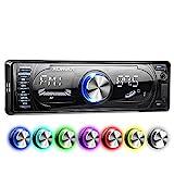 XOMAX XM-RSU260BT Autoradio mit Bluetooth Freisprecheinrichtung I RDS FM AM Radio Tuner I 7 Beleuchtungsfarben I USB, SD, AUX I 1 DIN
