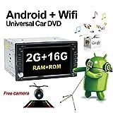 Stereo-Autoradio, Upgrade-Version mit Android 6.0Qure-Core, WLAN, Doppel-DIN DVD-Player, GPS-Navigation und integrierter Kamera, für alle...