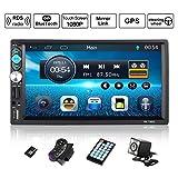 Autoradio GPS Navigation, OUTAD Wince 7'' 1080P Touchscreen 2 DIN, Mirrorlink/Bluetooth Freisprecheinrichtung/7 LED Beleuchtungsfarbe/RDS, mit...