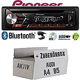 Autoradio Radio Pioneer DEH-S3000BT - Bluetooth | CD | MP3 | USB | Android Einbauzubehör - Einbauset für Audi A4 B5 Aktiv - JUST SOUND best choice...