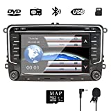 NVGOTEV 7-Zoll-Doppel-Din-Autoradio für VW/Golf/Passat/Skoda/Jetta/Tiguan/Sitz mit Wince-System DVD-Player GPS-Navigation FM AM-Radio Bluetooth USB...