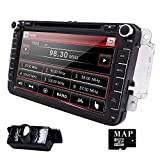 Hizpo Car Radio for Volkswagen/Skoda/Seat/Moniceiver/Naviceiver with GPS Navigation/Bluetooth Hands-Free Function 8 Inch Touchscreen/DVD/CD Player USB...
