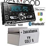 VW Golf 6 VI - Autoradio Radio Kenwood DPX-7100DAB - 2DIN Bluetooth DAB+ Digitalradio USB CD MP3 Einbauzubehör - Einbauset