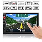 Auto GPS Navigation, OCDAY Auto Radio Stereo Receiver MP5 Spieler Doppel din 7' Zoll HD Touchscreen mit Bluetooth GPS Navigationssystem Free 8GB Map...