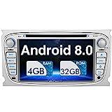 PUMPKIN Android 8.0 Autoradio Radio für Ford Focus Mondeo mit Navi Unterstützt Bluetooth DAB + USB CD DVD Android Auto WLAN 4G MicroSD 2 DIN 7 Zoll...