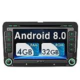 Pumpkin Android 8.0 Autoradio DVD Player für VW mit Navi Unterstützt Bluetooth DAB + USB CD DVD WLAN 4G Android Auto MicroSD Doppel Din 7 Zoll...