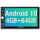 PUMPKIN Android 10 Autoradio mit Navi 4GB+64GB PX6 Unterstützt Qualcomm Bluetooth 5.0 DAB + Android Auto WiFi 4G USB MicroSD Doppel Din 7 Zoll...