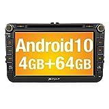 PUMPKIN Android 10 Autoradio für VW Radio mit Navi 4GB+64GB Unterstützt Bluetooth DAB + Android Auto CD DVD WiFi 4G USB MicroSD 8 Zoll IPS...