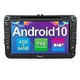 Vanku Android 10 Autoradio für VW Radio 64GB+4GB PX6 mit Eingebautes DAB + Navi CD DVD Player Unterstützt Qualcomm Bluetooth 5.0 DAB + WiFi 4G 8...