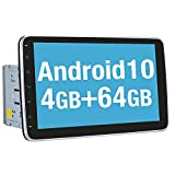 Vanku Android 10 Autoradio mit Navi 64GB+4GB 10 Zoll Unterstützt Qualcomm Bluetooth 5.0 DAB + Android Auto WiFi 4G USB MicroSD Doppel Din