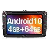 Vanku Android 10 Autoradio für VW Radio 64GB+4GB mit Navi DVD Player Unterstützt Qualcomm Bluetooth 5.0 DAB + WiFi 4G USB MicroSD 8 Zoll IPS...
