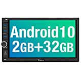 Vanku Android 10 Autoradio Radio mit Navi Unterstützt Bluetooth DAB + Eingebauter DSP WiFi 4G Android Auto USB MicroSD Doppel Din 7 Zoll Bildschirm