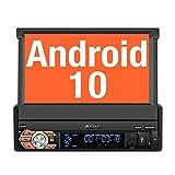 PUMPKIN Android 10 Autoradio 1 Din Radio mit Navi Ausfahrbares Touchscreen Unterstützt Bluetooth DAB+ DSP Android Auto WiFi 4G USB MicroSD 7 Zoll...