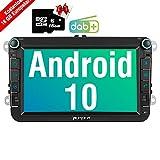 PUMPKIN Android 10 Autoradio für VW Radio mit Navi 16GB Europakarten/Integriertes DAB + Modul Unterstützt Bluetooth WiFi 4G USB MicroSD 8 Zoll...