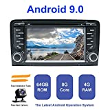Android Autoradio Stereo, ZLTOOPAI Für Audi A3 S3 RS3 Doppel 2 Din 7 Zoll Android 9,0 Octa Core 4G RAM 64G ROM HD Digital Multi-Touchscreen Auto...