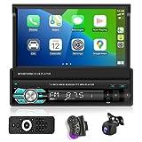 Podofo Autoradio Bluetooth Autoradio mit Freisprecheinrichtung mit Bildschirm AHD RüCkfahrkamera,1din mit Manuelle Ausfahrbarem Display Carplay Car...