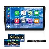 Android Doppel-Din-Autoradio mit Carplay 10.1'' Touchscreen-Autoradio-Unterstützung Bluetooth, WiFi, GPS, FM, SWC + Rückfahrkamera und externes...