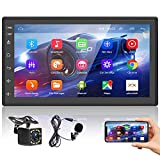 Podofo Autoradio Bluetooth Autoradio mit Navi Android Freisprecheinrichtung Doppel Din mit Bildschirm RüCkfahrkamera Car Radio 7 Zoll 1080p...