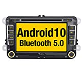 Vanku Android 10 Autoradio für VW Golf 5 6 Radio mit Navi CD DVD Unterstützt Qualcomm Bluetooth 5.0 DAB + WiFi 4G USB MicroSD 7 Zoll Bildschirm 2...