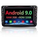 AWESAFE Android 9.0 Autoradio für VW Skoda Seat, 2 DIN 8 Zoll Touchscreen DAB+ unterstützung WLAN DVD USB RDS Bluetooth MirrorLink