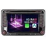 7' Android 10 Octa-Core 4G+64GB Eingebautes CARPLAY+Android Auto DSP DVD GPS Autoradio Navigation für VW Passat B6 Golf 5 6 Touran Tiguan Multivan T5...