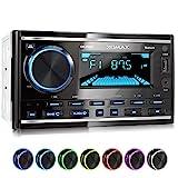 XOMAX XM-2R422 Autoradio mit Bluetooth I RDS I AM, FM I USB, AUX I 7 Beleuchtungsfarben einstellbar I 2 DIN