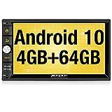 PUMPKIN Android 10 Autoradio Moniceiver mit Navi 4GB+ 64GB Unterstützt Bluetooth 5.0 DAB + WiFi 4G Android Auto USB MicroSD 2 Din 7 Zoll Bildschirm