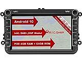M.I.C. AV8V6 Android 10 Autoradio mit navi Ersatz für VW Golf t5 touran Passat RNS RCD Skoda SEAT: DAB Plus Bluetooth 5.0 WiFi 2din 8' IPS Panzerglas...