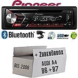 Autoradio Radio Pioneer DEH-S310BT - Bluetooth | CD | MP3 | USB | Android Einbauzubehör - EINBAUSET für Audi A4 B6 B7 - JUST SOUND best choice for...