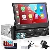 Podofo Autoradio mit Bluetooth Freisprecheinrichtung Apple Carplay 7 Zoll Bildschirm 1din Android Auto RüCkfahrkamera Manuelle Ausfahrbarem Display...