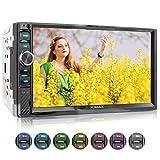 XOMAX XM-2V719 Autoradio mit Mirrorlink für Android, Bluetooth Freisprecheinrichtung, 7 Zoll / 18cm Touchscreen Bildschirm, 7 Beleuchtungsfarben, FM,...