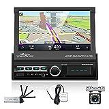 Podofo Autoradio mit navi Bluetooth Autoradio mit 7 Zoll Bildschirm RüCkfahrkamera,1din mit Ausfahrbarem Display Car Radio Touchscreen GPS USB Mirror...