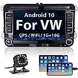 Android Autoradio Bluetooth für VW Golf Skoda Seat, Hikity Car Radio mit Navigation 7 Zoll Touchscreen Auto Android Radio FM 2USB WiFi Mirror Link +...