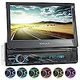 XOMAX XM-V746 Autoradio mit Mirrorlink I 7 Zoll / 18 cm Touchscreen I Bluetooth Freisprecheinrichtung I RDS I SD, USB, AUX I Anschlüsse für Front-...