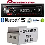 Autoradio Radio Pioneer DEH-S310BT - Bluetooth | CD | MP3 | USB | Android Einbauzubehör - Einbauset für Audi A4 B5 Aktiv - JUST SOUND best choice...