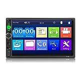 Autoradio Doppel Din -7'' Autoradio mit Bluetooth Freisprecheinrichtung,Multimedia MP5 Player mit Taste Unterstützung FM Radio/USB/AUX/TF,2Din...