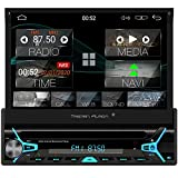 Tristan Auron BT1D7022A Android 10.0 Autoradio I 7'' Touchscreen ausfahrbar I CD DVD GPS Navi 32GB Bluetooth Freisprecheinrichtung I USB SD OBD DAB...