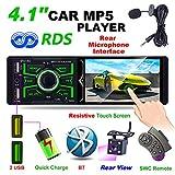 Hoidokly 4,1 Zoll 1DIN Bluetooth Autoradio mit 1080P Touchscreen, MP5-Player, FM/AM/RDS Radio, IR-Rückfahrkamera, unterstützt USB/TF/AUX Eingang,...