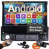 Autoradio Bluetooth 1din Radio Navigation Moniceiver DVD Player Android 10.0 7 zoll Auto Radio Touchscreen Ausfahrbar GPS Naviceiver 1080p Multimedia...