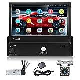 Podofo Autoradio 1din mit Ausfahrbarem Display mit navi Bluetooth Android Autoradio mit 7 Zoll Bildschirm RüCkfahrkamera , Car Radio Touchscreen USB...