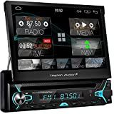 Tristan Auron 1 DIN Android Autoradio mit Mirrorlink - 7'' ausfahrbares Display CD DVD Laufwerk GPS Navi Bluetooth Freisprecheinrichtung DAB Plus...